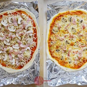 Pizza - szynka, pieczarki, oliwki