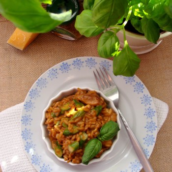risotto z kurczakiem i szparagami