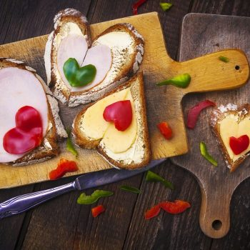 Image from creative food series: hearts sandwiches