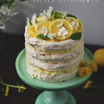Tort bezowy z kremem cytrynowym