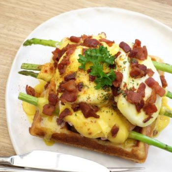 Waffles ham cheese and egg.