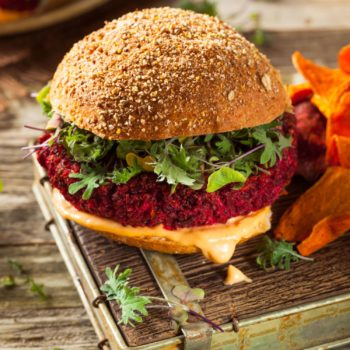 58502366 - healthy baked red vegan beet burger with microgreens