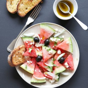 Watermelon salad with feta cheese,black olives,onion and basil